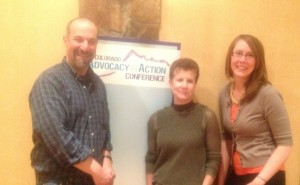 PreventConnect's David Lee with Ellen Williams of the Colorado Coalition Against Domestic Violence and Alexa Priddy of the Colorado Coalition Against Sexual Assault