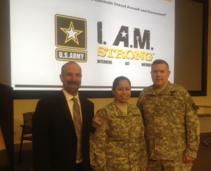 David Lee with Staff Sergeant Mary Valdez and Major General Gary Patton, Director of the Department of Defense's Sexual Assault Prevention and Response Office