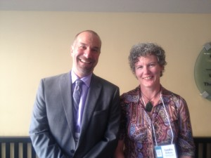 PreventConnect and CALCASA's David Lee with Sandra DIckson from New Zealand's Te Ohaakii a Hine - National Network Ending Sexual Violence Together