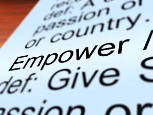 Empower Definition Closeup Shows Authority Or Power Given To Do Something