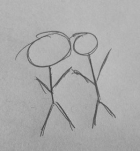 2 stick figures holding hands