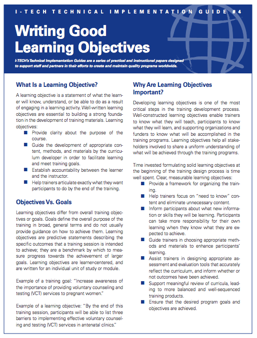 writing good learning objectives