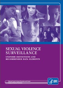 """purple and blue cover of """"sexual violence surveillance"""" with black and white pictures of faces on the top 1/2."""