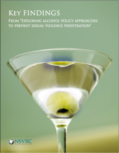 Cover of NSVRC publication Key Findings: Exploring Alcohol Policy Approaches to Prevent Sexual Violence with a martini pictured