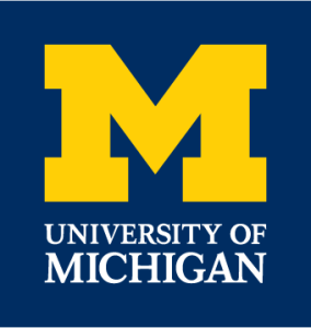 University of Michigan Logo with navy blue background, big yellow M, and University of Michigan in white text