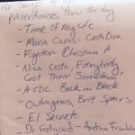 hand written list  of 16 songs for preventionists