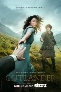 Outlander poster featuring Caitriona Balfe as Claire and Sam Heughan as Jamie Fraser