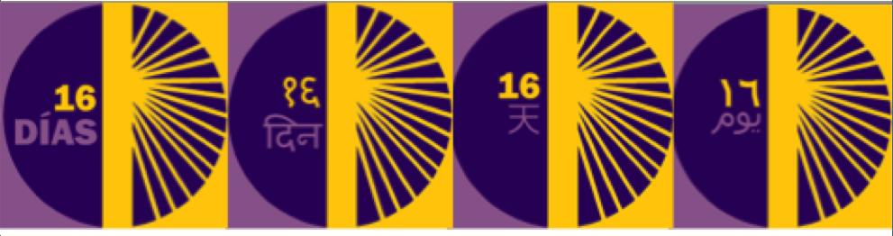 16 Day Logos in Spanish, HIndi, Arabic and Chinese