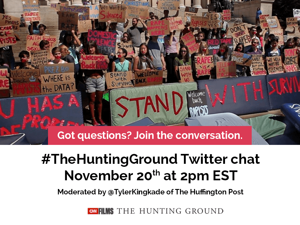 #TheHuntingGround Twitter chat November 20 at 2PM EST moderated by TYler Kincade of the Huffington Post - picture of student activiites rallyin to end sexual violence. Join the Conversation
