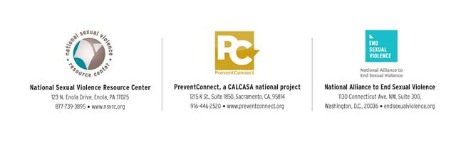 Logos of national partnership: National Sexual Violence Resource Center, PreventConnect, a CALCASA national project, and National Alliance to End Sexual Violence