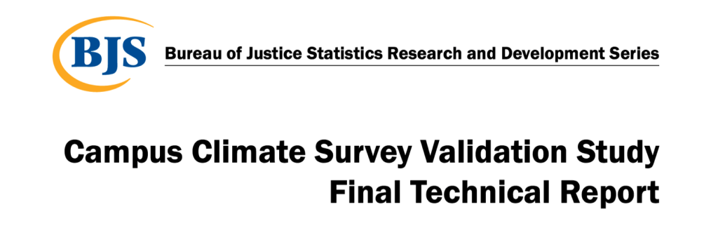 COver of Bureau of Justice Statistics Research and Development Series Campus Climate Survey Validation Study  Final Technical Report