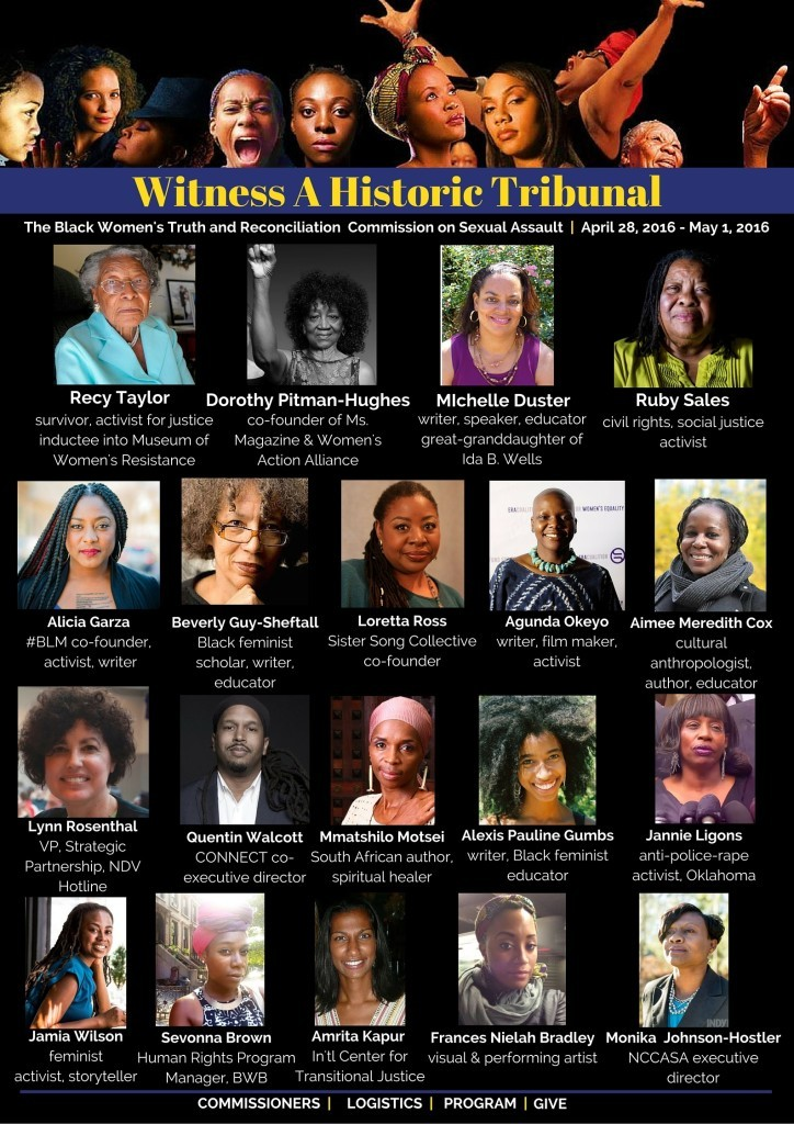 Witness a historic tribunal. Black Women's Truth and Reconciliation Commission April 28, 2106 - May 1, 2016 - picutres of commissioners