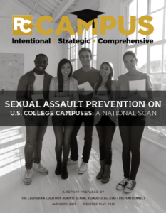 Black and white cover of Sexual Assault Prevention on U.S. College Campuses: A National Scan report, with college students standing in front