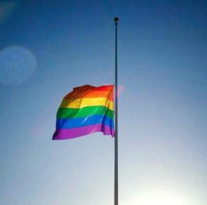 rainbow flad at half-mast