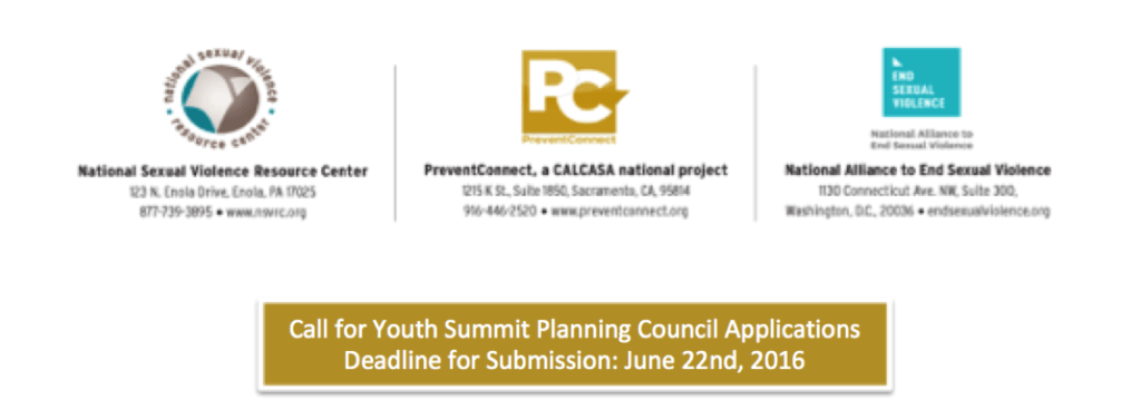 Call for Youth Summit Planning Council Applications Deadline for Submission: June 22nd, 2016 with logos of NSVRC, PreventConnect and NAESV