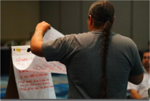 Back of a Native man holding a flip chart paper from the Native Men's gathering