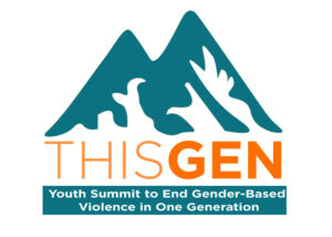"White background with outline of teal mountains. The words THIS GEN are in orange. Underneathe there are white words against a teal background that read ""Youth Summit to End Gender-Based Violence in One Generation"""