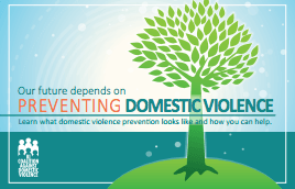 "Cover of a new primary prevention resource with a blue background and an illustration of a green tree with green leaves. Text reads, ""Our future depends on preventing domestic violence, learn what domestic violence prevention looks like and how you can help."""