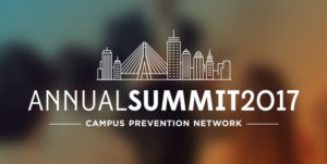 dark background with an illustration of the city of Boston in white text and the words Annual Summit Campus Prevention Network
