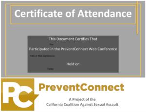 Sample PreventConnect certification