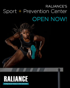 Raliance's Sport + Prevention Center is now open. Black background with African-AMerican women hurdler