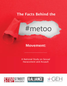 Red background with white print - with a rip peeling away some of the red to reval #metoo.  Text reads The facte behind the #metoo Movement: A national study on sexual harassment and assault.  At bottom are logos from Stop Street Harassment, Raliance and Cener on Gender Equity and Health