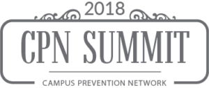 "The words, ""2018 CPN Summit Campus Prevention Network"" in gray font."