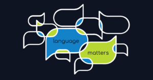"Multiple speech bubbles with ""language matters"" in text."