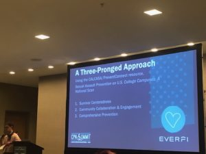 """A photo of a projection screen with a PowerPoint slide shown. It is a blue background with the words, """"A three-pronged approach to preventing sexual violence on campus. Trauma-informed, community-campus collaboration, comprehensive prevention"""" in white font."""