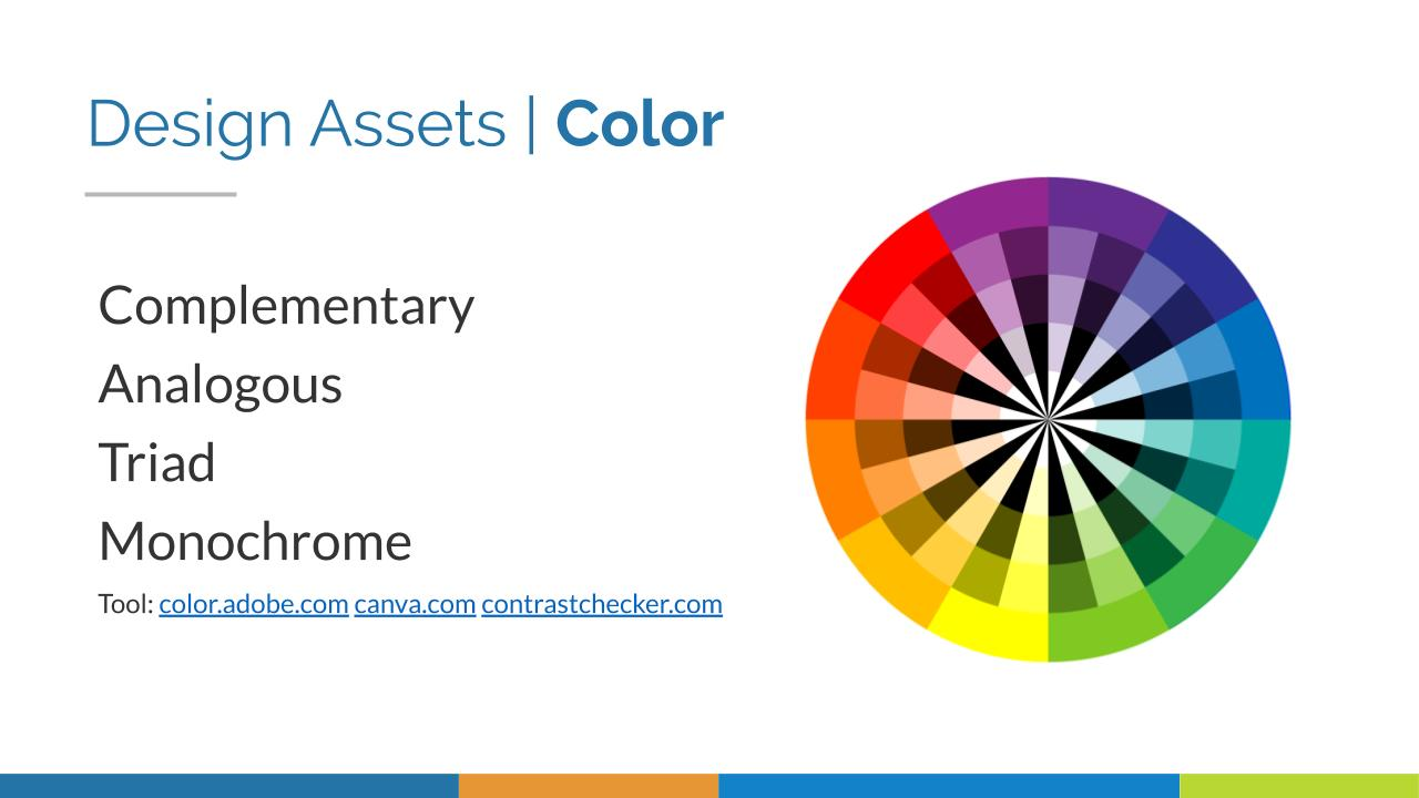 """A color wheel on a PowerPoint slide with the heading """"Design Assets 