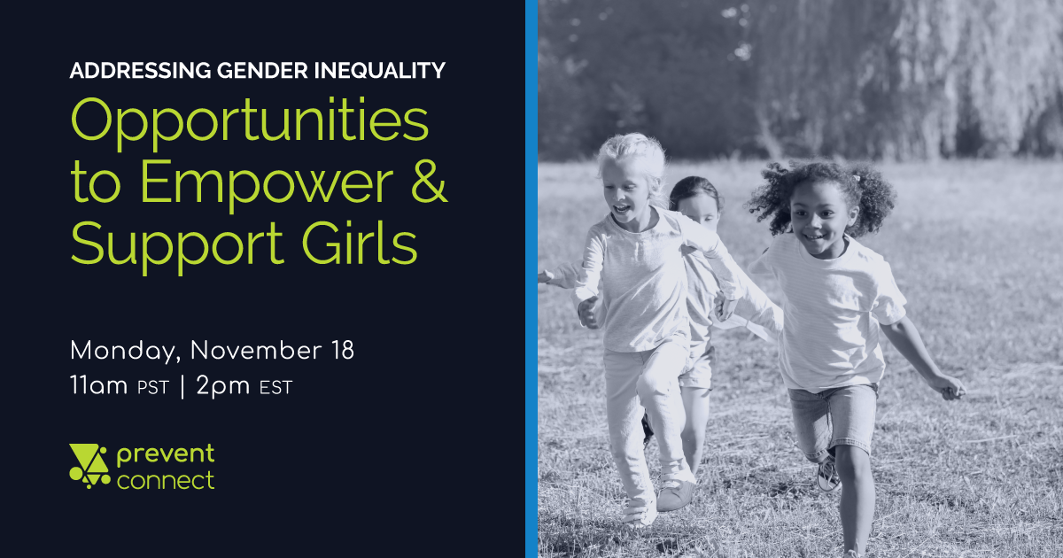 Title, date, and time of the web conference listed next to a black and white image of three girls running through a field