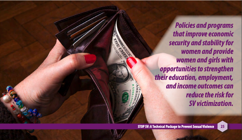 "Image from page 25 of the STOP SV CDC technical package of someone with $1 in their wallet and the words ""Policies and programs that improve economic security and stability for women and provide women and girls with opportunities to strengthen their education, employment, and income outcomes can reduce the risk for SV victimization"" https://www.cdc.gov/violenceprevention/pdf/sv-prevention-technical-package.pdf"