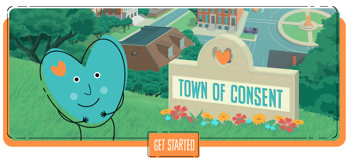"""A cartoon teal heart-shaped character stands in front of a sign that says """"Town of Consent."""" Learn more about SafeSecureKids.org at https://www.safesecurekids.org/"""