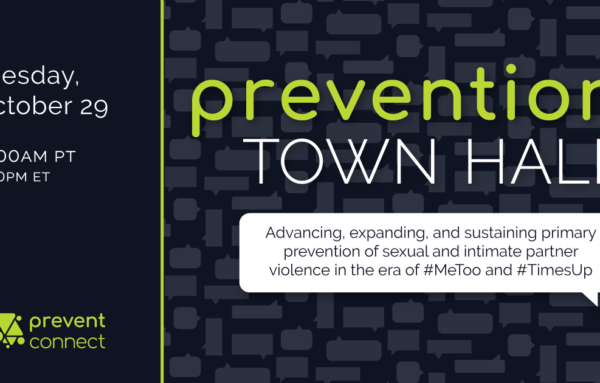 Prevention Town Hall: Advancing, expanding, and sustaining primary prevention of sexual and intimate partner violence in the era of #MeToo and #TimesUp