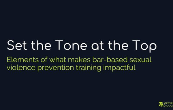 Set the Tone at the Top: Elements of what makes bar-based sexual violence prevention effective