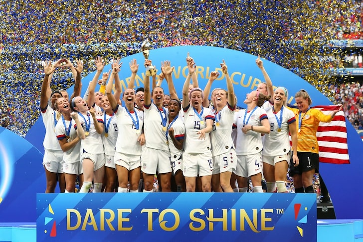 U.S. Women's National Team celebrating their 2019 World Cup victory