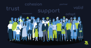 Icons of blue people with a diversity of culture and fashion. Words float above them: trust, cohesion, complement, support, partner, valid, adapt
