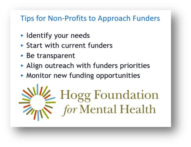 Tips for Non-Profits to Approach Funders from Hogg Foundation for Mental Health: Identify your needs. Start with current funders. Be transparent. Align outreach with funders priorities. Monitor new funding opportunities