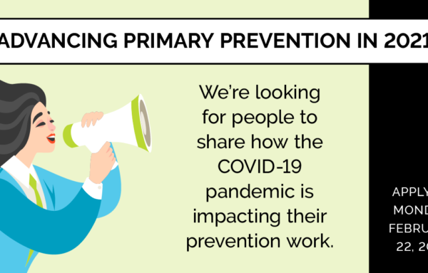 Call for Speakers: Prevention During COVID-19 Town Hall