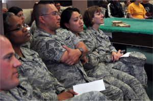 Military watching rape prevention presentation