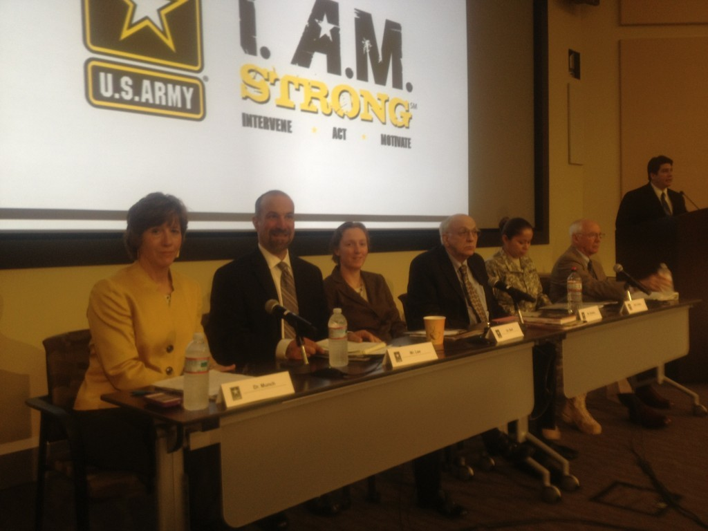 Panel at Army's SHARP Summit. Left to right: Anne Munch, JD; David Lee, MPH; Margret Bell, Ph.D., Deot. of Veteran's Affairs; Robert Shanley, Major General, US Army (Retired); Staff Sergeant Mary Valdez; Don Snider, Ph.D. Emeritis Professor, West Point
