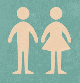blue background with off white male and female stick figures side by side