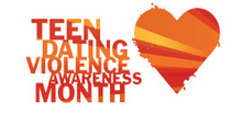 """Teen Dating Violence Awareness"" written in red and orange striped text with a red, yellow, and orange striped heart to the right of the text, all on a white background"