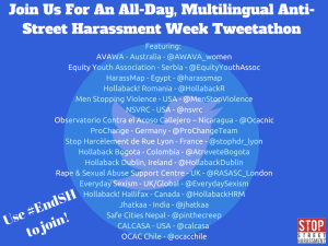 Blue, square flyer with twitter logo watermark (white outline of a bird with a lighter blue circle around it) and list of the organizations and countries participating.