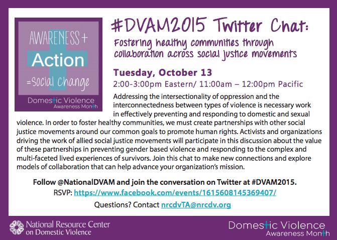 #DVAM2015 Twitter Chat October 13 2pm ET