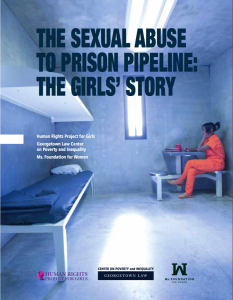 Cover of THE SEXUAL ABUSE TO PRISON PIPELINE: THE GIRLS' STORY report - pciture of prison cell in blue tint with free prisoner in orange clothing on right side