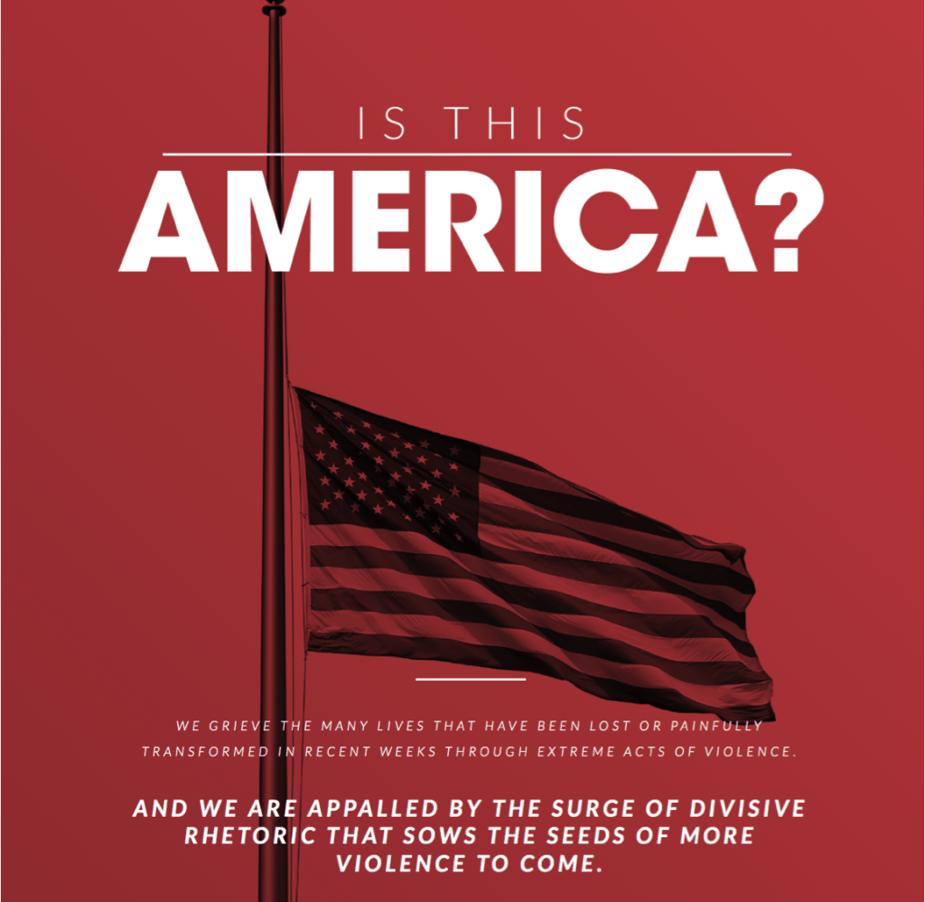 """Image of New York Times ad - red background with American Flag at malf mast, Text reads """"Is this America? We grieve the many lives that have been lost or painfully transformed in recent weeks through extreme acts of violence. AND we are appalled by the surge of divisive rhetoric that sows the seeds of more violence to come."""""""