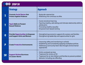 STOP SV Chart of strategies and approaches