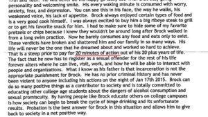 "exceprt from Brock TUrner's father with the phrase ""20 minutes of action"" underlined in red"