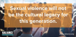 "a crowd of people with the words on an orange background that says ""sexual violence will not be the cultural legacy of this generation"""